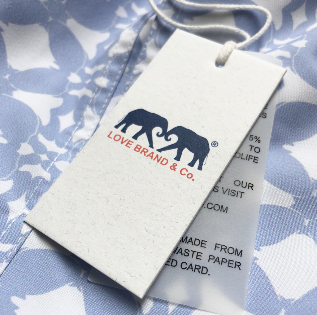 Love Brand recycled swing tag vegetable paper sustainable